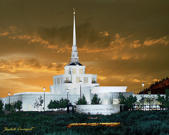 Billings Montana Lds Temple Painting Gold Sunset Picture