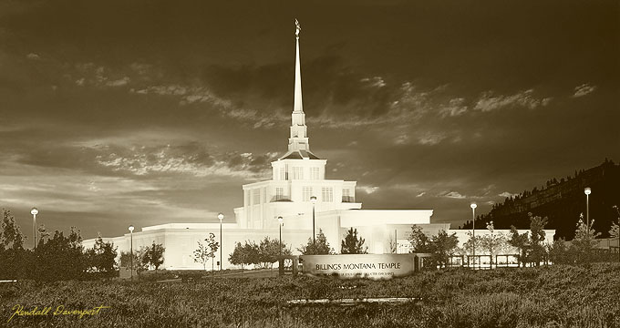 Sepia Lds Temple Picture Painting
